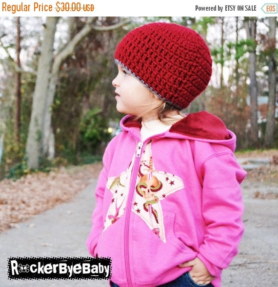 SUMMER SALE Punk Rock Toddler Girls Hoodie Raspberry with pink tattoo fabric in a star applique size 2t, 4t, or 5/6 with Maroon hood