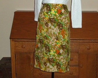 Wool Skirt 70's LOUBELLA ,Med,  authentic Expendables California  size 28 waist Fitted Floral