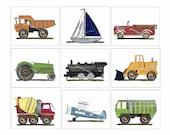 9 transportation art prints- regular priority mail shipping