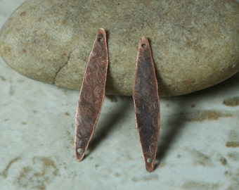 Hand hammered antique copper connector drop dangle size 26x5mm, 4 pcs (item ID YWXW01264ACDK)