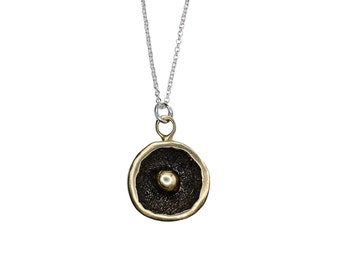 Porterness Studio Bronze Pendent on Sterling Silver Chain - Tiny Bubbles On A Dome - Double Sided One Of Kind