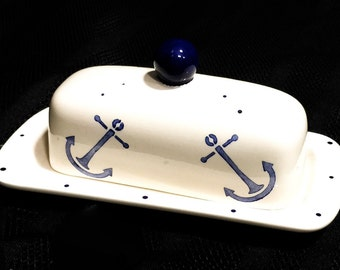 Butter Dish. Anchor Knobbed Butter Dish. Anchor. Nautical.Handmade by Sara Hunter Designs