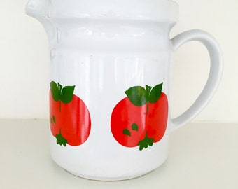 Large 70s retro tomato jug vase pot  - German vintage Scandi style