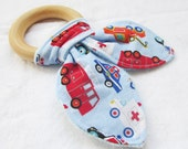 Natural Wooden Teether with Crinkles - Rescue Vehicles - Fire truck, Tow truck, Police Car, Ambulance - New Baby Gift - Natural Teething