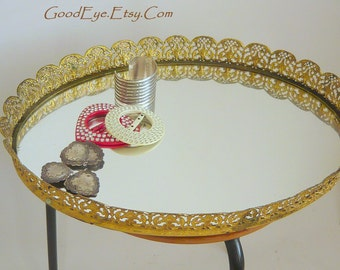 Vintage Hollywood Regency Mirror Dresser Tray Boudoir Large Gold Pierced Metal FLORAL Baskets Motif 16 inches Ova  MCM