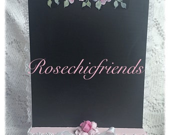 Stand Chalk Board Chic Hand Painted ART Pink Roses Shabby ECS cst schteam SVFTeam