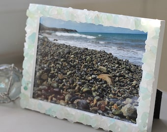 Beach Decor - Sea Glass Frame - Sea glass art - Genuine sea glass - Surf tumbled by nature - recycled gift - nature lover gift - Beach finds