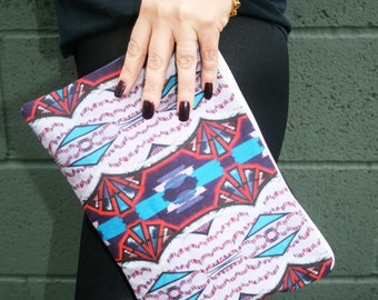 Geometric Tribal Boho Fabric Print Printed Clutch Purse Make Up Bag
