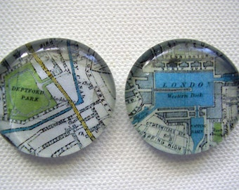 Set of two large vintage east London glass pebble magnets