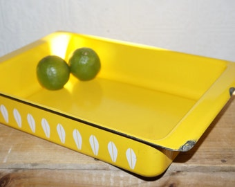 Vintage        Cathrineholm    ???   Enameled yellow  Lotus Lasagna Pan, Vintage Mid-century Modern Scandinavian Design,