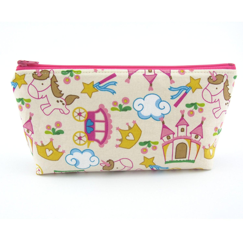Princess Castle And Unicorn Cosmetic Bag Zip Pouch Makeup