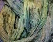 Woodland Lakes in  Hand Dyed Habotai Silk  for Nuno Felting