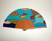 Hand fan Handpainted Silk-Abanico-Wedding gift-Giveaways-Bridesmaids-Spanish hand fan 17 x 9 inches (43 cm x 23 cm)