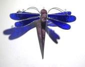 Indigo Flight - 3D Stained Glass Dragonfly Twirl - Medium Shimmering Blue Home Garden Decor Hanging Suncatcher Yard Art (READY TO SHIP)