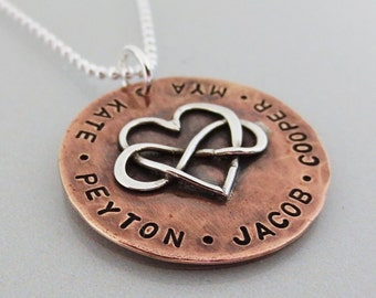Personalized Infinity Necklace - Infinity Heart Necklace - Family Necklace - Mothers Necklace - Rustic - Copper - Hand Stamped Jewelry
