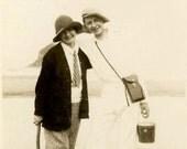 vintage photo 1927 Pacific City Oregon Flapper couple Cute Camera Pail Axe at Beach