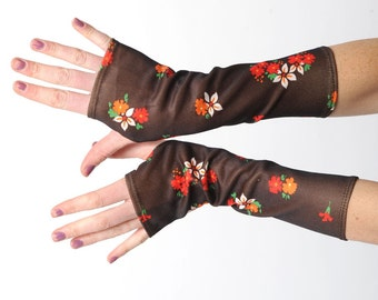 Brown floral armwarmers, Floral patterned fingerless gloves, Brown jersey armwarmers, Vintage brown jersey wrist warmers