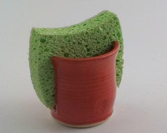 Ceramic Sponge Holder - Stoneware Paper Napkin Caddy - Handmade Sponge Drying Bowl - Kitchen Essential - Ready to Ship - Tomato Red h421