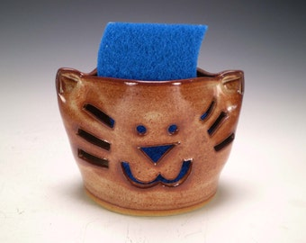 Cat Sponge Holder, Cat Candle Holder, Cat Pottery, Mother's Day Gift, Graduation Gift, Cat Lover Gift, Pet Sitter Gift