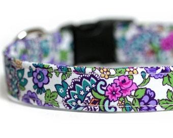 Engraved Dog Collar opiton, Flower dog collar, Purple Dog Collar, flowerista