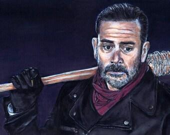 The Walking Dead Negan Jeffrey Dean Morgan Acrylic Painting Art Print 11.7 x 16.5 inches