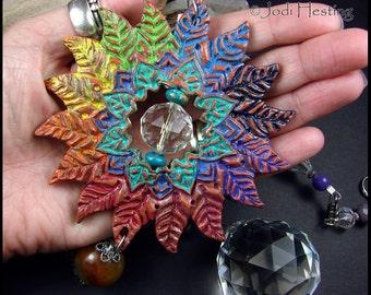 "Beadworx - Polymer Clay and Crystal Gemstone - Sun Catcher - ""Lotus Leaf"""
