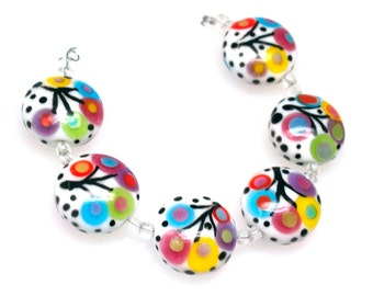 Pearly colorful 21mm button Lampwork beads  (1) SRA Made to order