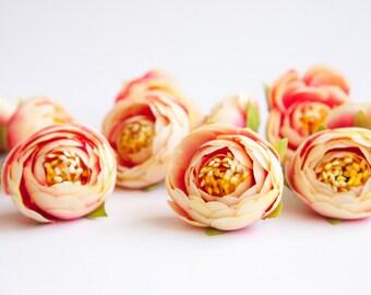 10 MINI Ranunculus Buds in Cream and Bright Pink - silk artificial flower, flower crown supply-ITEM 0509