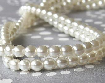 4mm Snow White Pearl Czech Glass Bead Round Druk : 50 pc 4mm White 4mm Round