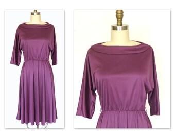 Vintage 70s Dress 1970s Disco Dress Purple Slinky Mod Draping Full Skirt Sz L