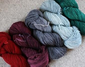 A Real Gem Set of 5 skeins fingering weight wool total 2500yds 2286m