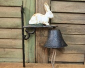 Vintage Cast Iron Bell with Rabbit Dinner Garden White Bunny