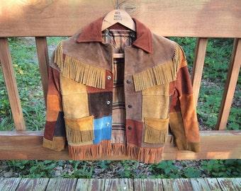 Free Shipping Leather Suede Fringe Jacket Patchwork Child Size Beautiful EUC