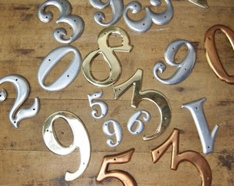 Lot of puffy metal numbers for assemblage and projects destashing several colors and sizes vintage