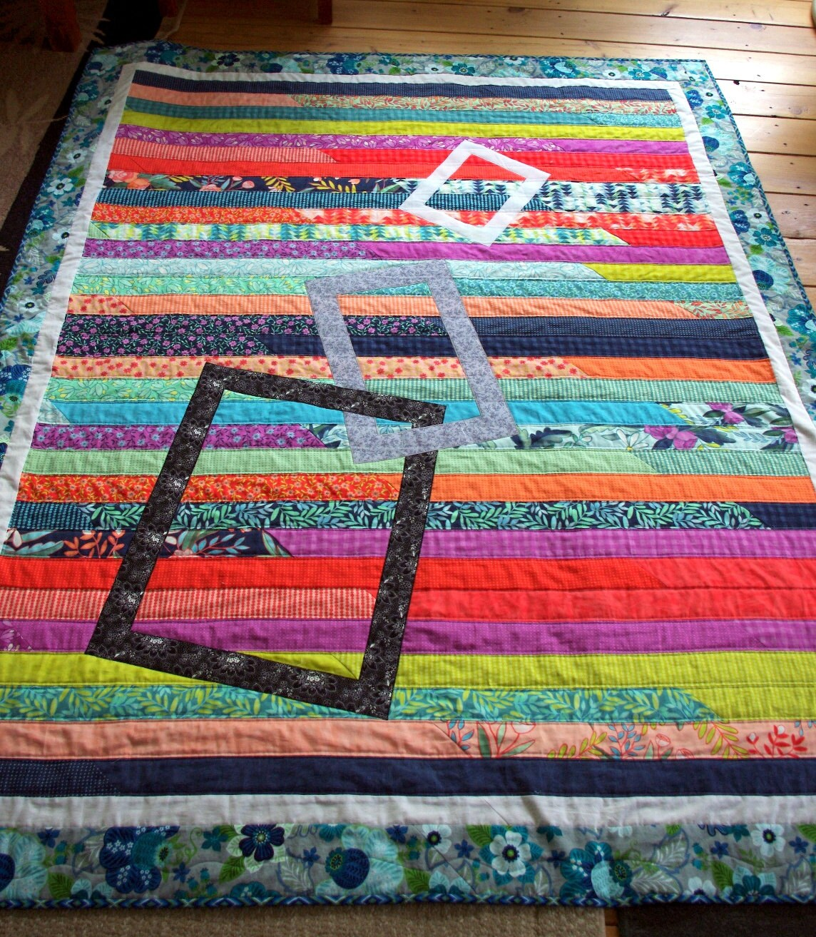 Modern quilted lap throw quilt quilted blanket striped for Modern house quilts