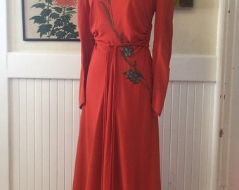 1930s gown beaded gown old hollywood size small medium vintage dress 1930s dress formal gown