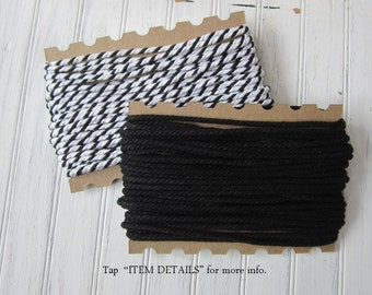 Chunky Twine, Black and White Cording, Solid Black Bulky Twine, Black Cording, Black Rope, Cotton Twine, C01