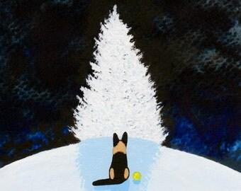 German Shepherd Dog Folk art PRINT by Todd Young WINTER WISH