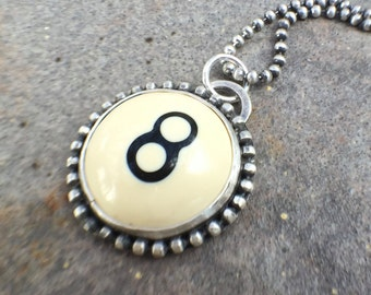 ON VACATION - Vintage Eight Billiard Ball Sterling Silver Bold Statement necklace