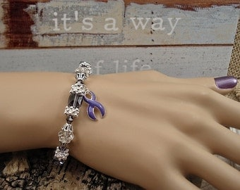 DP-1 Chiari Awareness Ulcerative Colitis Bracelet Crohns Disease Awareness Alzheimers Jewelry Lupus Beaded Bracelet Gift For Her