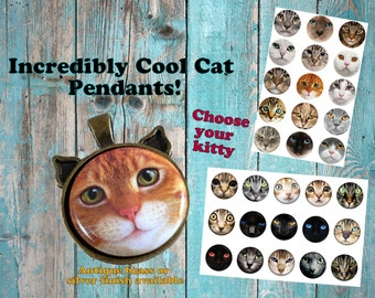 Cat Pendant, Cat Necklace, Cat Ear Necklace, Cat Ear Jewelry, Cat Face Necklace, Cat Face Pendant, Cat Jewelry, Custom Cat Necklace, SET 1