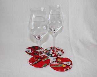 Santa's Coming Town Fabric Wine Coasters set of 4