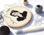 Elizabeth Bennet cross stitch portrait
