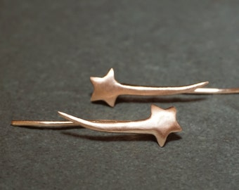 Shooting Star Ear Climbers in 10k Gold