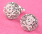 Glitter Skull Ear Posts - Studs - Skull Stud Earrings - Silver & White