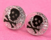 Glitter Skull Ear Posts - Studs - Skull Stud Earrings - Silver & Black