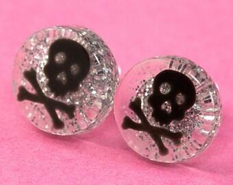 Glitter Skull Ear Posts - Studs - Skull Stud Earrings - Silver & Black