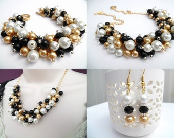 Pearl Beaded Jewelry Set, Black White and Champagne Gold Necklace Bracelet and Earrings, Cluster Jewelry, Wedding Sets Bridesmaids Gift