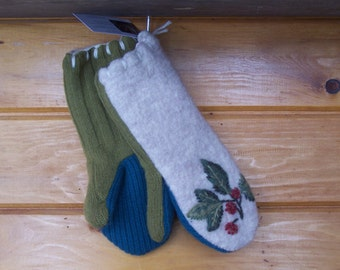 Embroidered wool upcycled sweater mittens