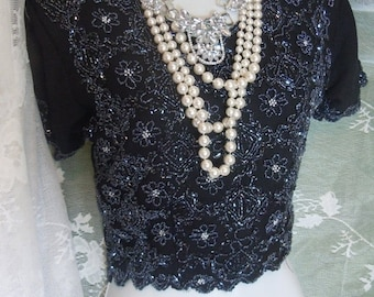 Valentines Sale Black beaded blouse vintage crop top flapper  evening party small  from vintage opulence on Etsy